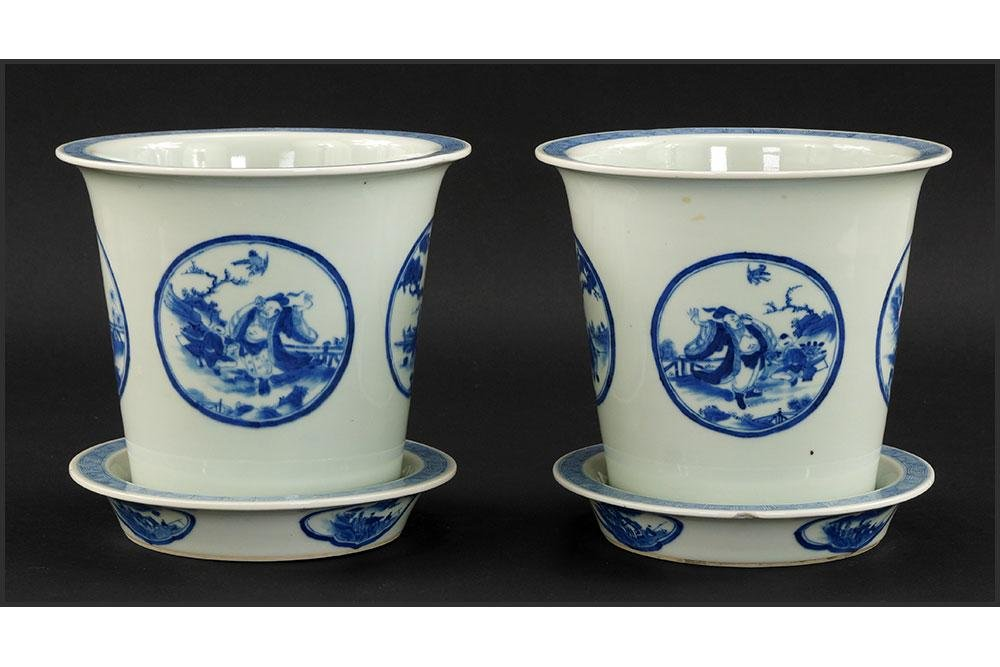 A Pair of Chinese Blue and White Porcelain Cache Pots.