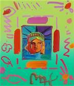 Peter Max (German-American, B. 1937) Liberty Head II.