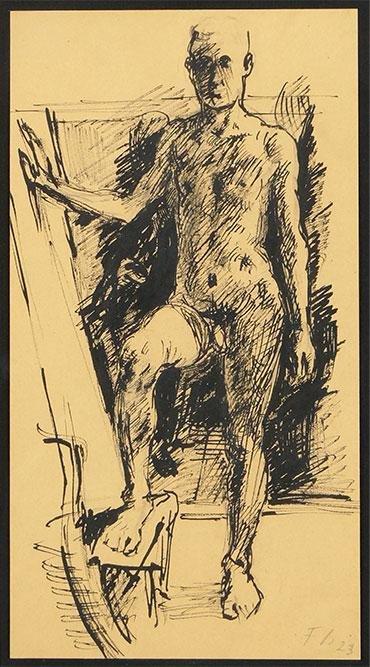 Fritz Burkhardt (German, 1900-1983) Standing Male Nude.