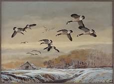 Ted Blaylock (American, B. 1946) Geese in Flight.