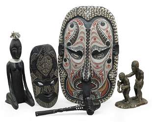Two Carved and Painted Wood Masks