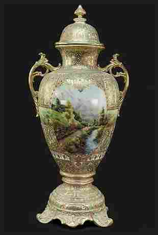 A Nippon Porcelain Covered Urn.