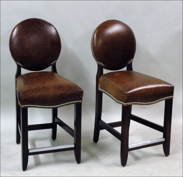 681001: SET OF FOUR DESIGN MASTER LEATHER AND MAHOGANY