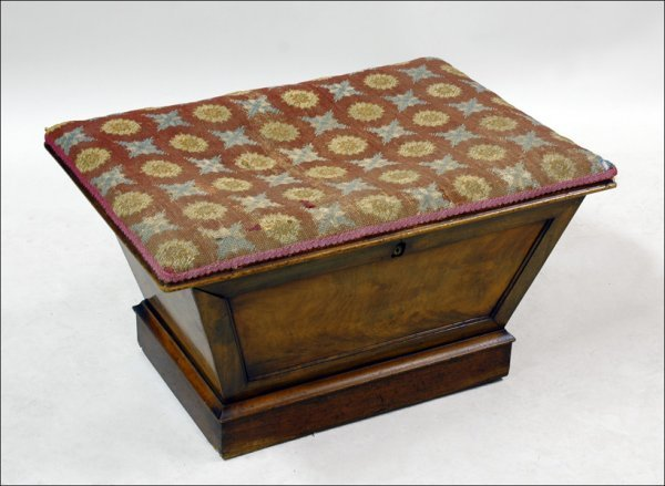 681009: ENGLISH MAHOGANY CHEST WITH NEEDLEPOINT TOP.