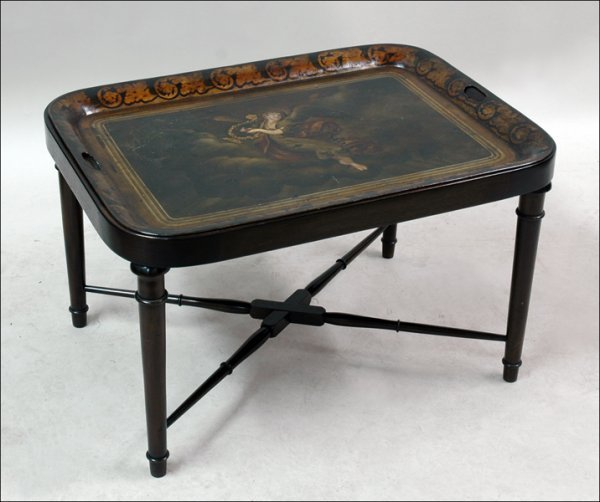 681010: PAINTED TOLE TRAY TABLE.