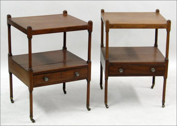 681021: PAIR OF WALNUT SINGLE DRAWER TWO-TIER SIDE TABL