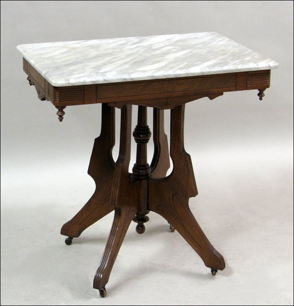 681026: EASTLAKE STYLE WALNUT AND MARBLE TOP OCCASIONAL