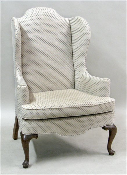 681028: QUEEN ANNE STYLE MAHOGANY WINGBACK ARMCHAIR.