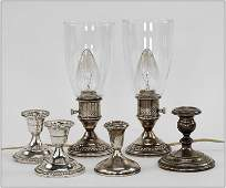 A Pair of Weighted Sterling Silver Hurricane Lamps