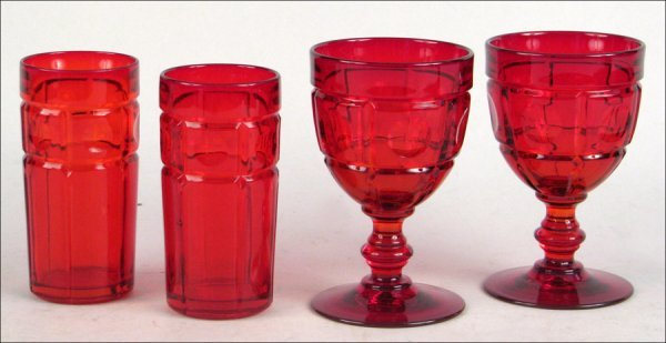 692008: FENTON RUBY GLASSWARE IN THE PLYMOUTH PATTERN.