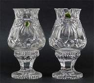 A Pair of Waterford Society Crystal Hurricane Lamps in
