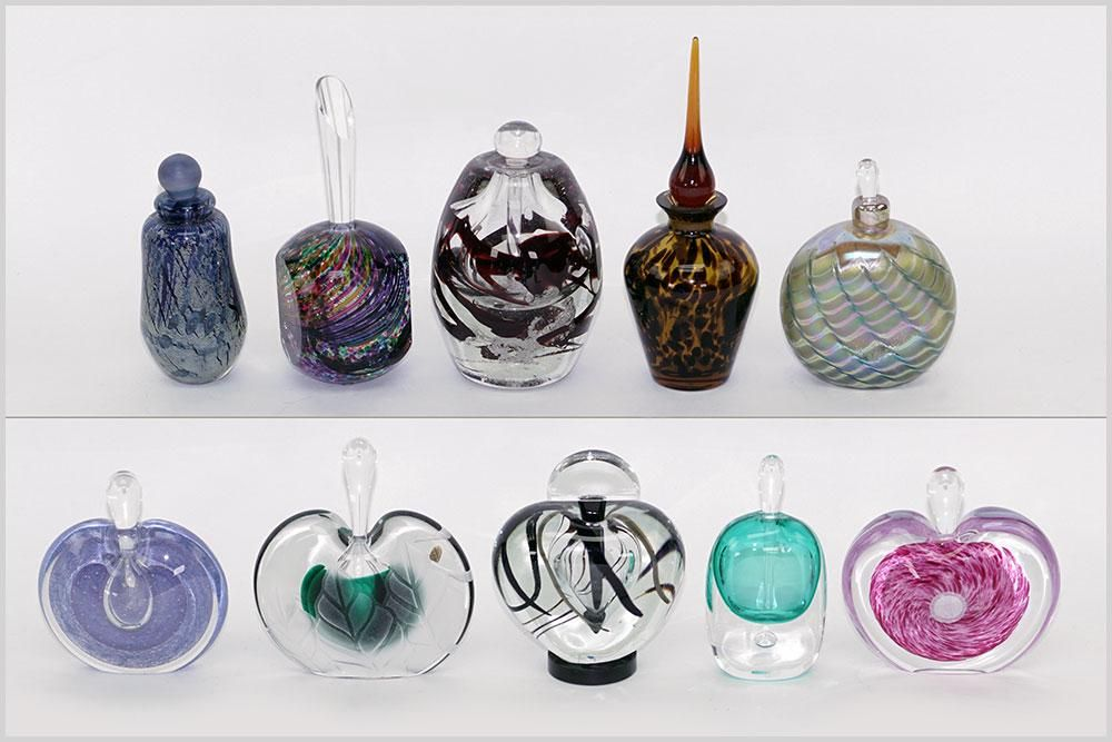 Collection of Contemporary Glass Perfume Bottles.
