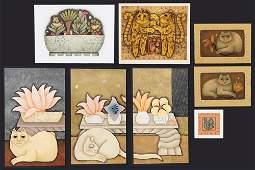 Carol Jablonsky (American, 1939-1992) Eight Cat Prints.