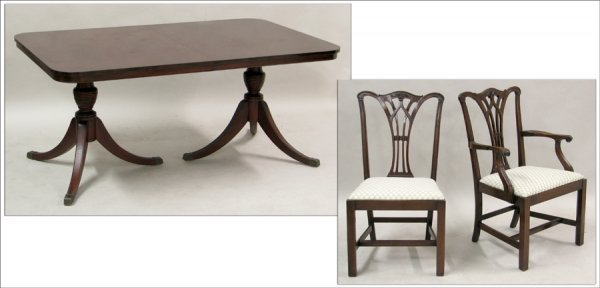 701004: MOUNT AIRY FURNITURE CO. MAHOGANY DOUBLE-PEDEST