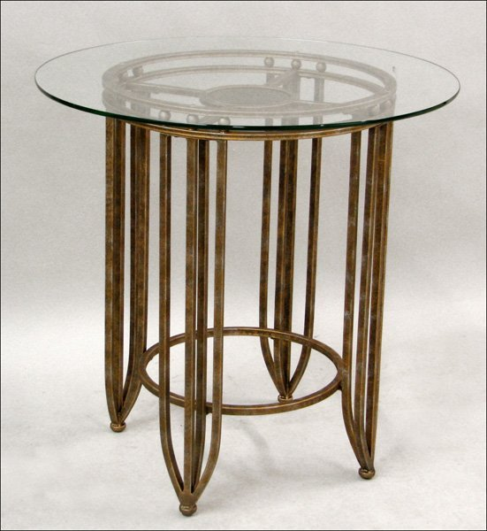 701005: ART DECO STYLE PATINATED METAL AND GLASS TOP OC