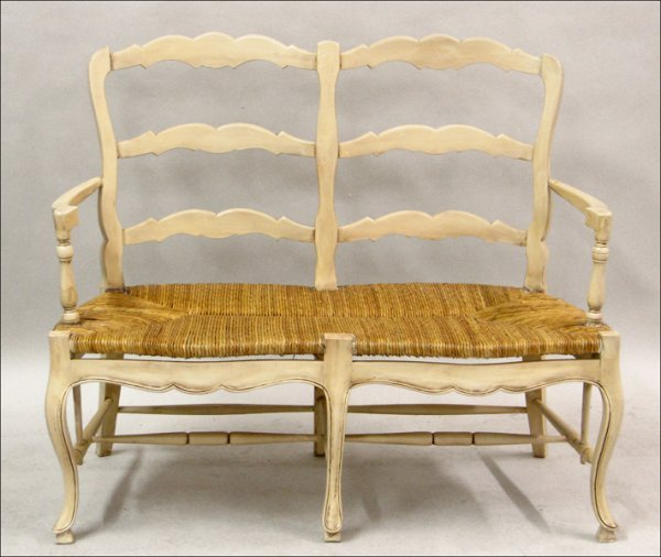 701008: FRENCH PROVINCIAL STYLE PAINTED WOOD DOUBLE-BAC