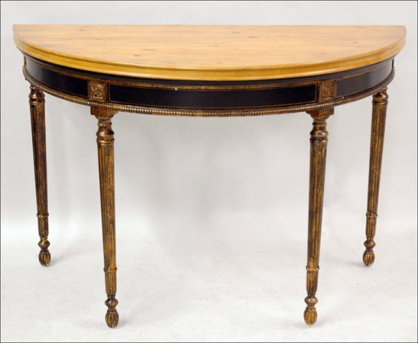 701017: LOUIS XVI STYLE DEMI-LUNE CONSOLE TABLE.