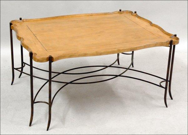 701018: PINE SCALLOP EDGE TRAY TABLE.
