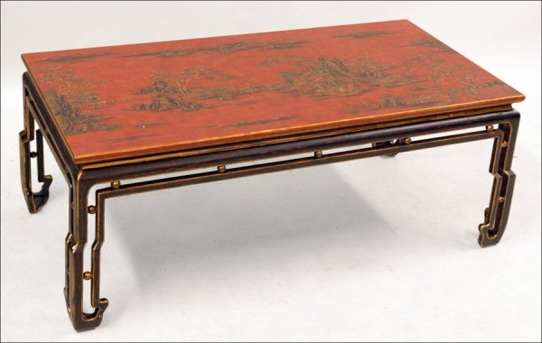 701020: RED CHINOISERIE STYLE COCKTAIL TABLE.