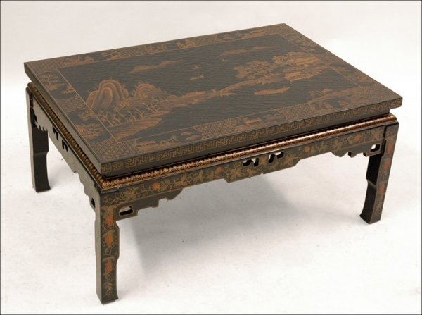 701021: BLACK CHINOISERIE STYLE COCKTAIL TABLE.