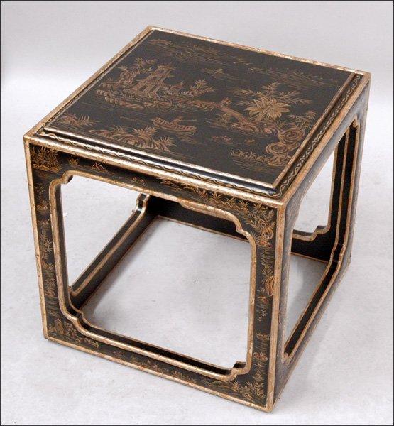 701022: BLACK CHINOISERIE STYLE TEA TABLE.