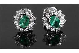 A Pair of Emerald & Diamond Earrings.