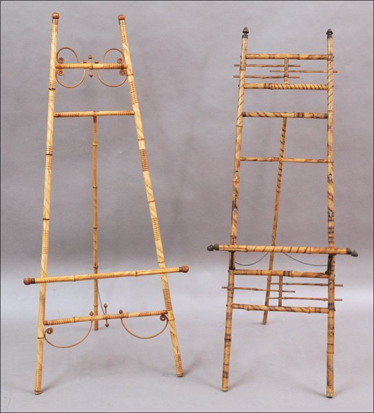 711017: TWO VICTORIAN STYLE BAMBOO EASELS.