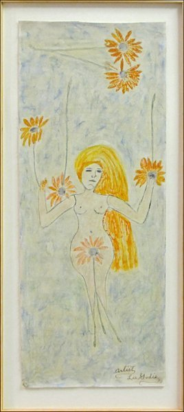 726013: LEE GODIE (AMERICAN 1908-1994) NUDE WITH FLOWER