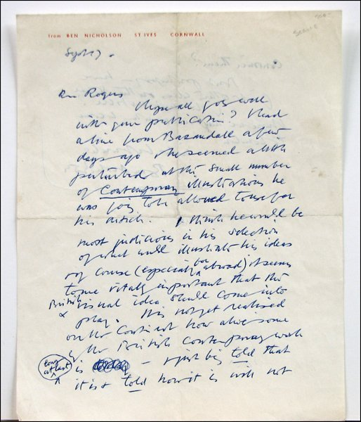 726015: BEN NICHOLSON HAND WRITTEN AND SIGNED LETTER.