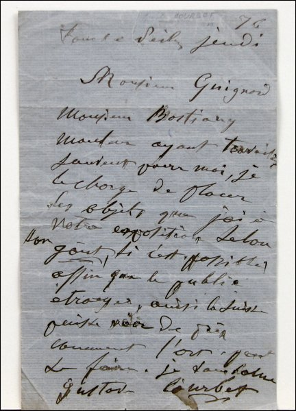 726020: HAND WRITTEN AND SIGNED LETTER BY GUSTAVE COURB