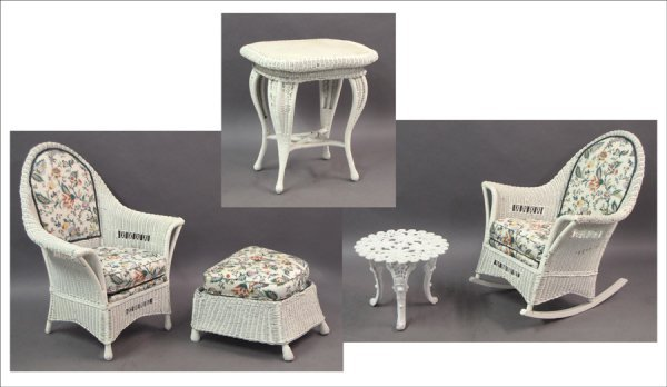 731005: GROUP OF PAINTED WICKER FURNITURE.