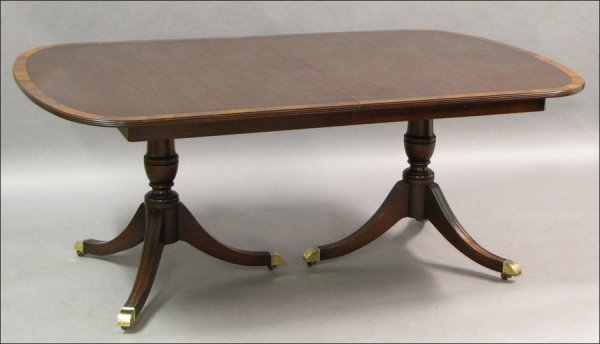 731006: BANDED MAHOGANY DOUBLE PEDESTAL EXTENSION DININ