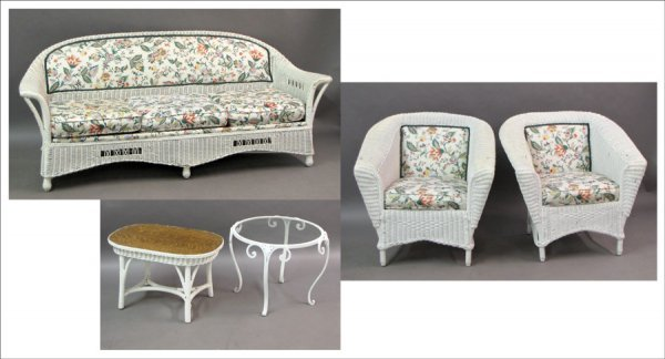731008: GROUP OF PAINTED WICKER FURNITURE.
