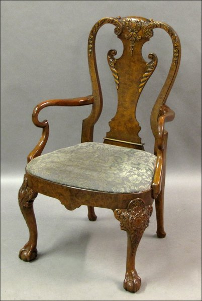 731013: BAKER GEORGE II STYLE CARVED MAHOGANY OPEN ARM