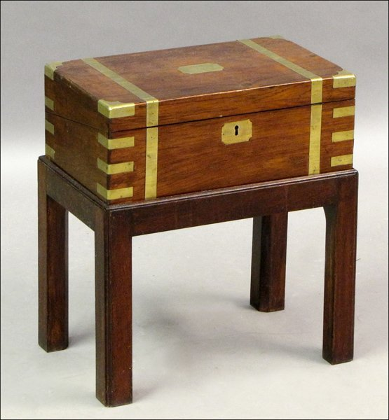 731022: ENGLISH MAHOGANY BRASS BANDED LAP DESK ON STAND