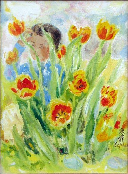 736066: LE PHO (FRENCH, 1907-2001) JEUNE FILLE DANS LE