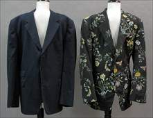 739131 PAUL SMITH BLACK FAILLE JACKET WITH FLORAL EMBR