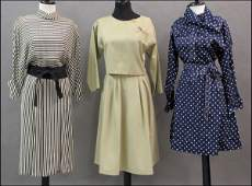 739199: NAVY BLUE AND WHITE POLKA DOT DRESS WITH A BAND