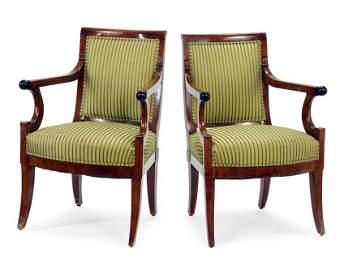 Set of Six English Mahogany Open Arm Chairs.