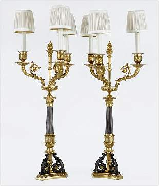 A Pair of French Empire Style Table Lamps.