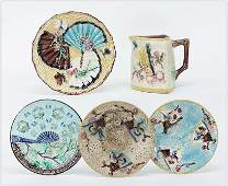 Two English Majolica Bird  Fan Plates