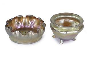 Two Tiffany Studios Favrile Glass Salt Dishes.
