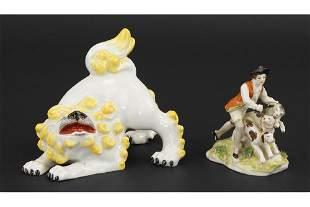A Continental Porcelain Figure of a Foo Lion.