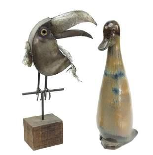 A Mixed Metal Sculpture of a Toucan.
