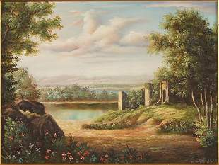 Cuthbert (Contemporary) River Scene with Ruins.