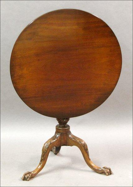 741002: ENGLISH 19TH CENTURY MAHOGANY TILT TOP TEA TABL