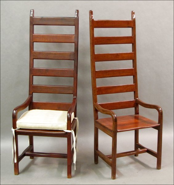 741006: PAIR OF CHERRY LADDERBACK ARM CHAIRS.