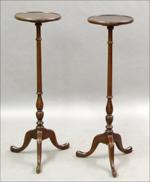 741015: TWO QUEEN ANNE STYLE MAHOGANY PLANT STANDS.