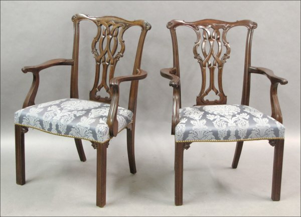 741017: PAIR OF BAKER CHIPPENDALE STYLE MAHOGANY ARMCHA
