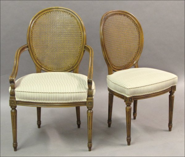 741021: SIX LOUIS XVI STYLE MAHOGANY AND CANED BACK DIN